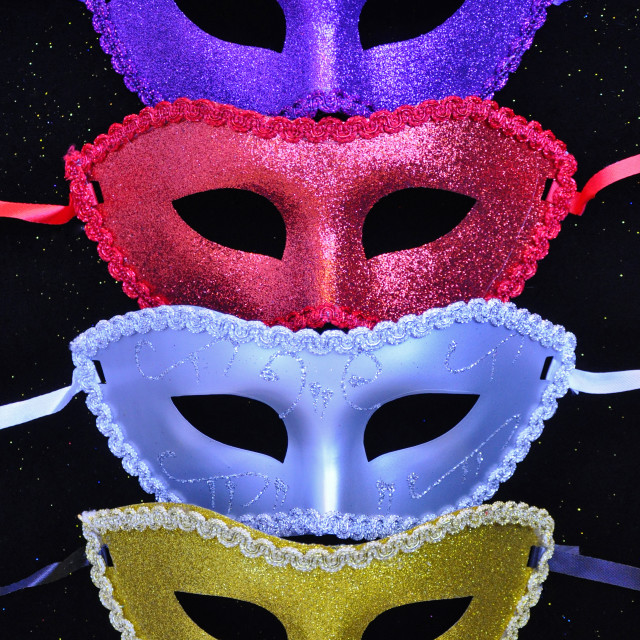 """Colorful glitter masks"" stock image"