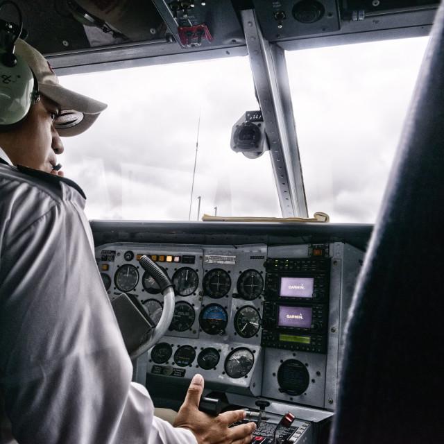"""Pilot at work"" stock image"