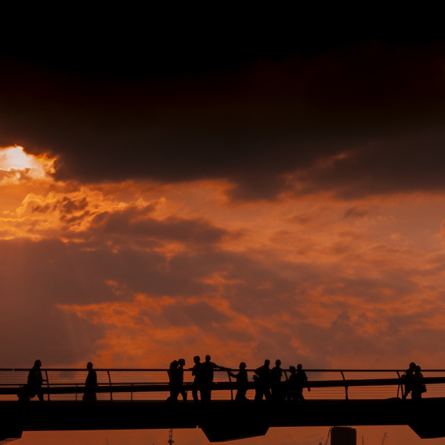 """Sunset over the Millennium Bridge"" stock image"