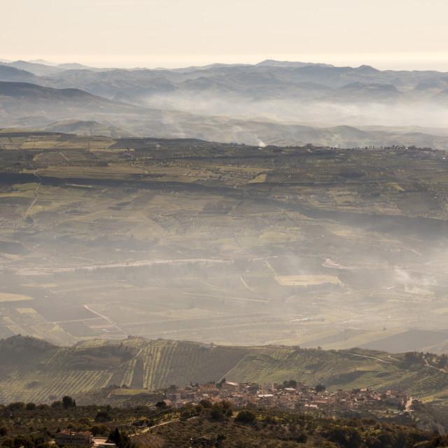 """Foggy Sicilian landscape."" stock image"