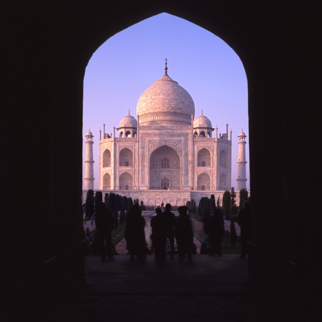 """Taj Mahal through archway"" stock image"