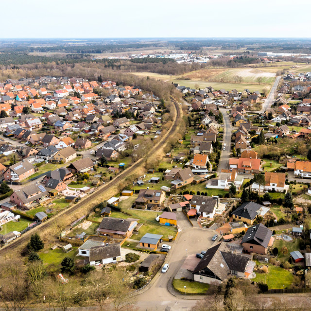 """Aerial view of a small village in Lower Saxony, which is cut up by a..."" stock image"