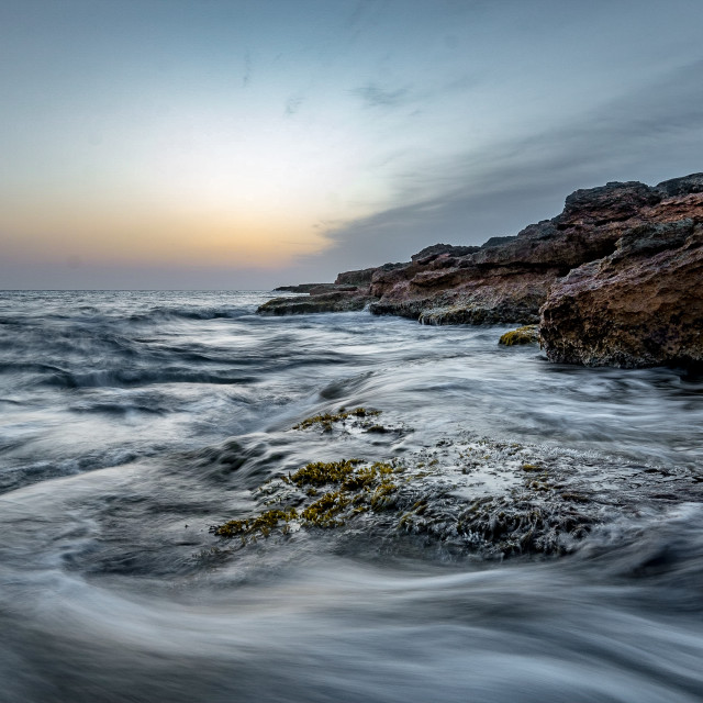 """Mediterranean sea at sundown"" stock image"