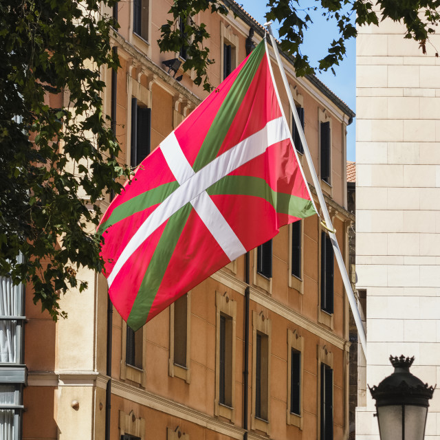 """""""Headquarters and flag of the Basque Nationalist Party; Bilbao, Vizcaya, Pais..."""" stock image"""