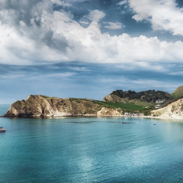 """Lulworth Panorama"" stock image"