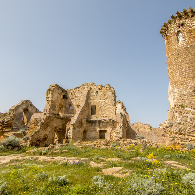 """""""Medieval castle ruins in Sicily."""" stock image"""