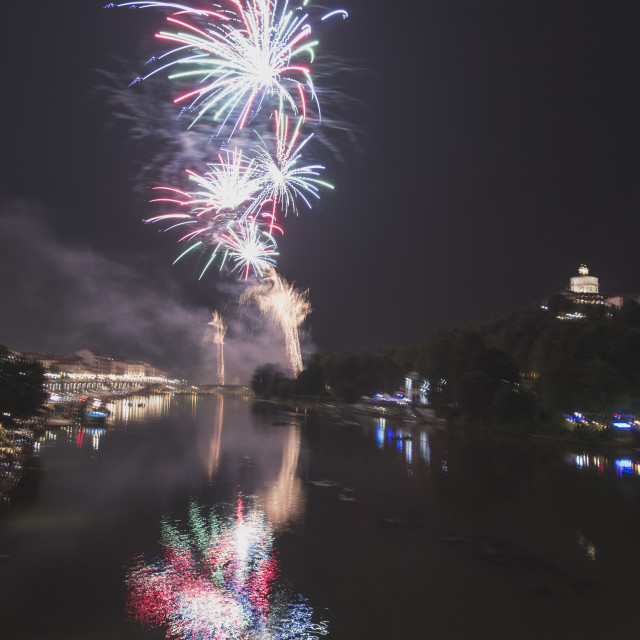 """Fireworks over the Po river in Torino."" stock image"