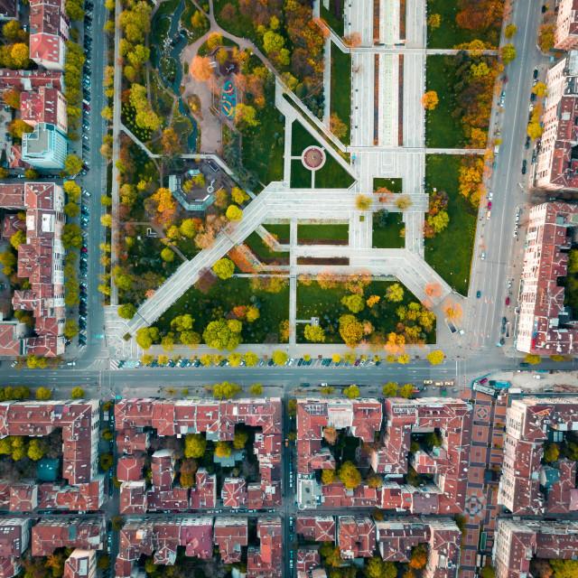 """Aerial view of Memorial park in Sofia Bulgaria"" stock image"