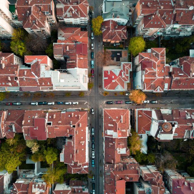 """Red roofs of Sofia Bulgaria"" stock image"