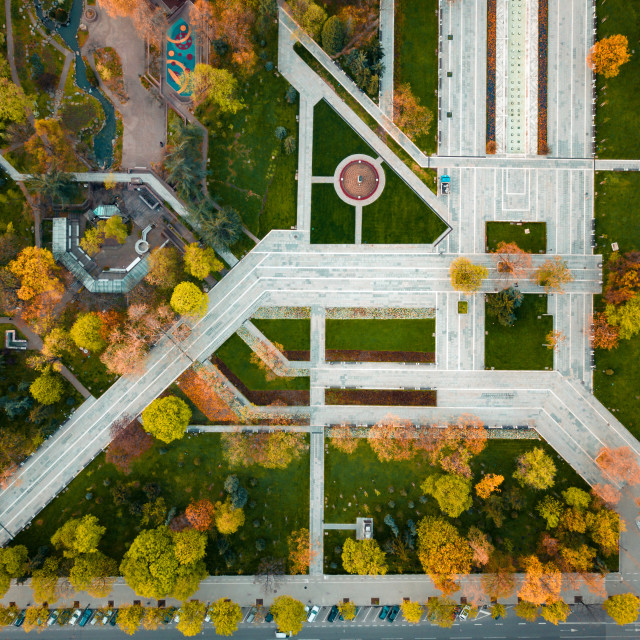 """""""Park at autumn from above"""" stock image"""