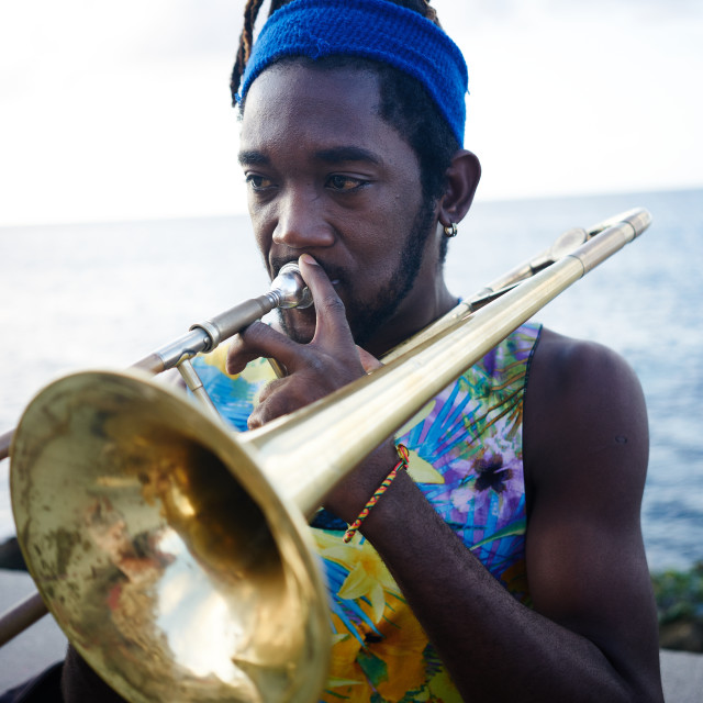 """""""Musician playing trumpet by the sea"""" stock image"""