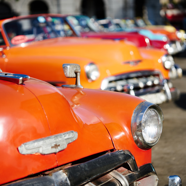 """""""Classic cars waiting for tourists."""" stock image"""