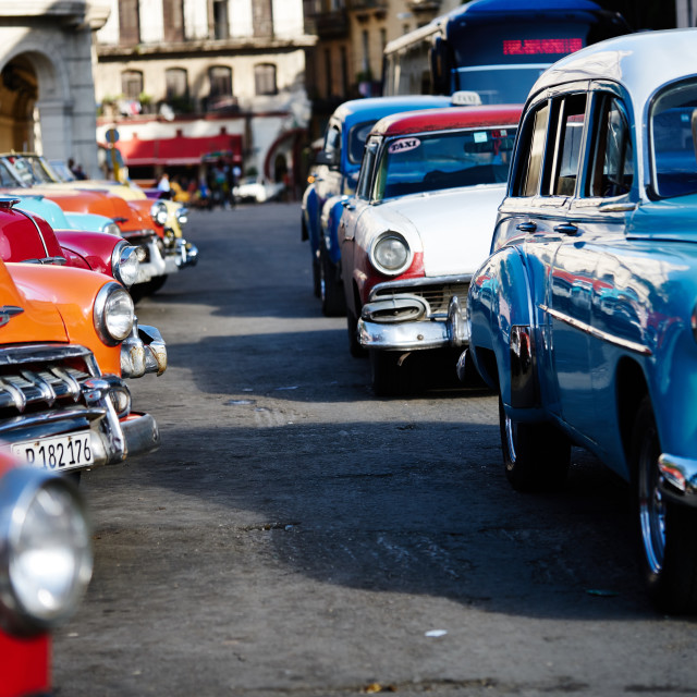 """""""Classic cars are used as a cabs in Havana, Cuba"""" stock image"""