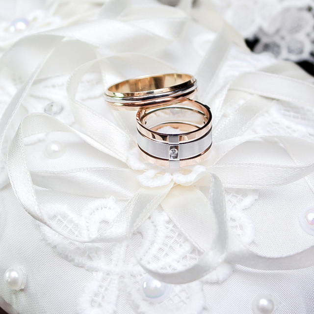 """""""Wedding. Decor. Bride's shoes, a beautiful wedding bouquet, rings,..."""" stock image"""