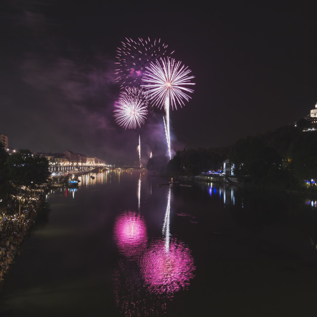 """Fireworks over the Po river in Torino, Italy."" stock image"