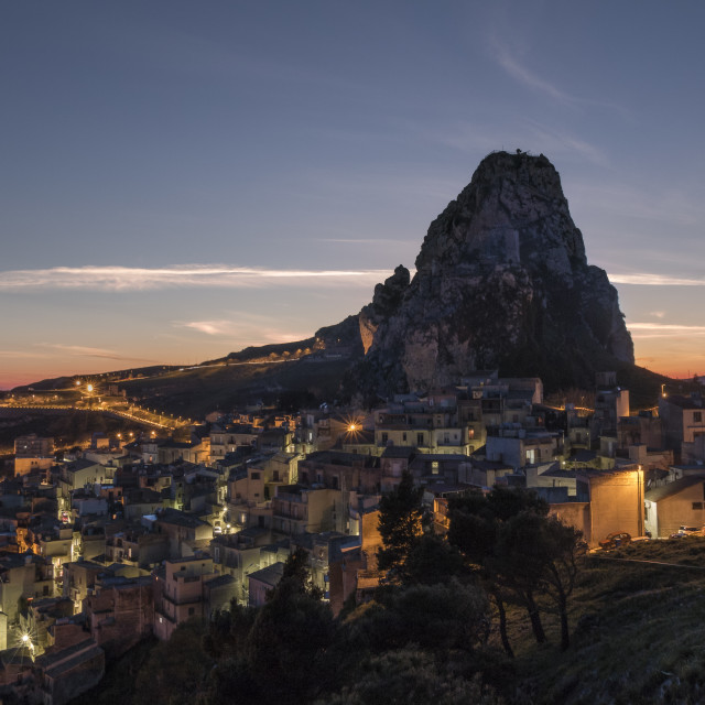 """Sicilian mountain top village at late blue hour."" stock image"