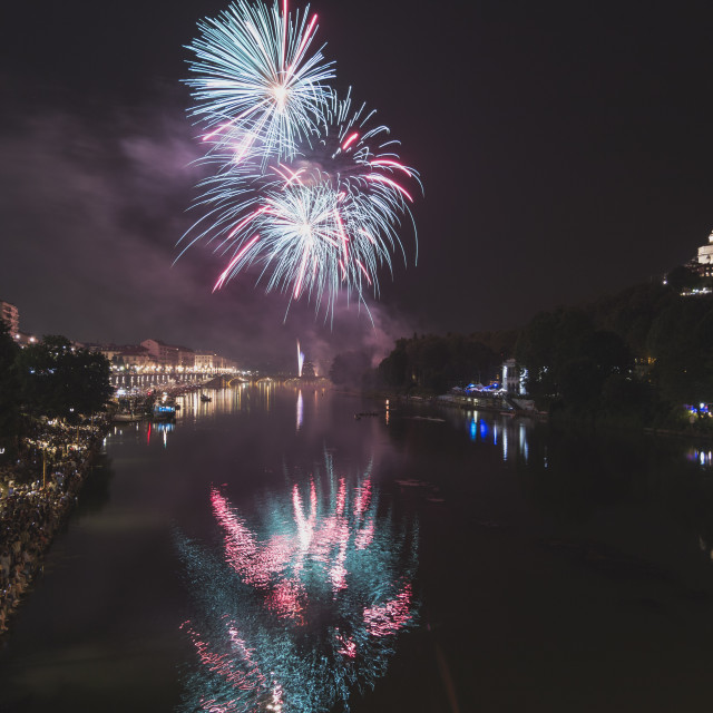 """""""Fireworks over the Po river in Torino, Italy."""" stock image"""