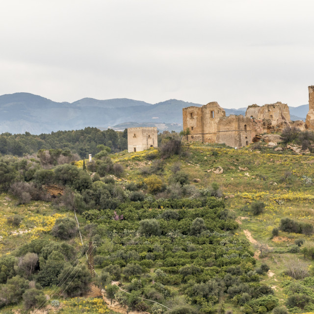 """Old medieval castle ruins in Sicily."" stock image"