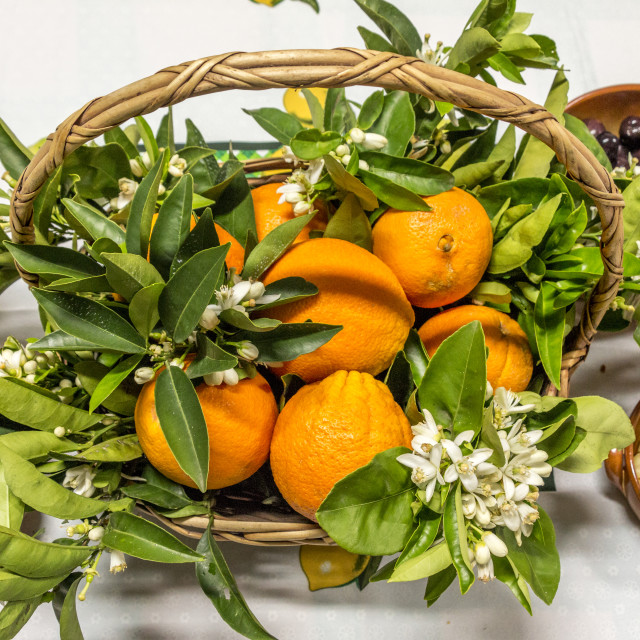 """Oranges basket."" stock image"