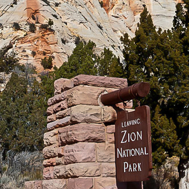 """""""Zion National Park sign"""" stock image"""