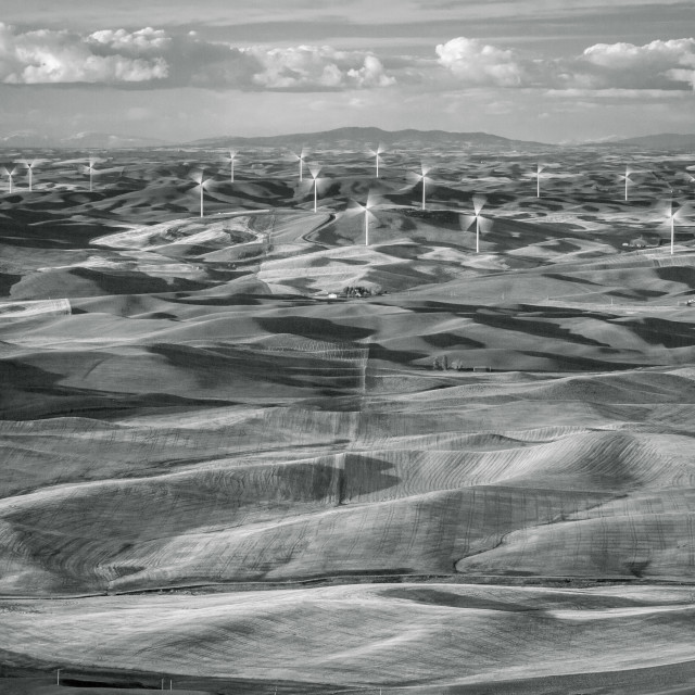 """Wind farm in the rolling hills of Washington's Palouse"" stock image"