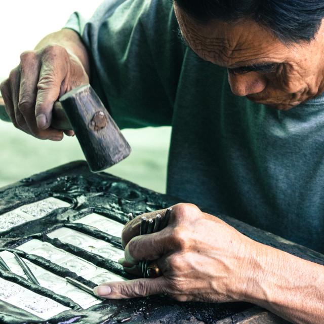 """Metal worker - Luang PrabangLaos"" stock image"