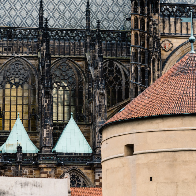 """Outdoor view of St. Vitus Cathedral in Prague"" stock image"