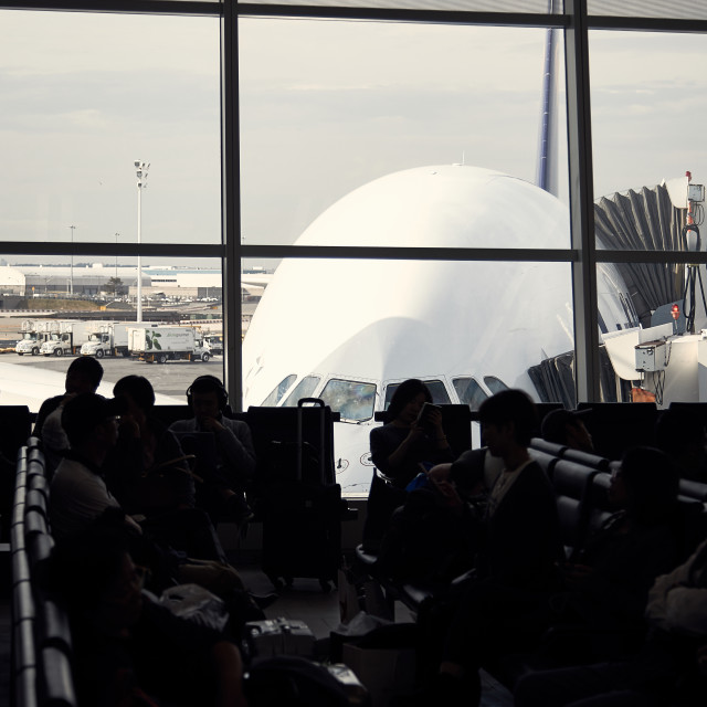 """Airbus A380 waiting at gate for passengers"" stock image"