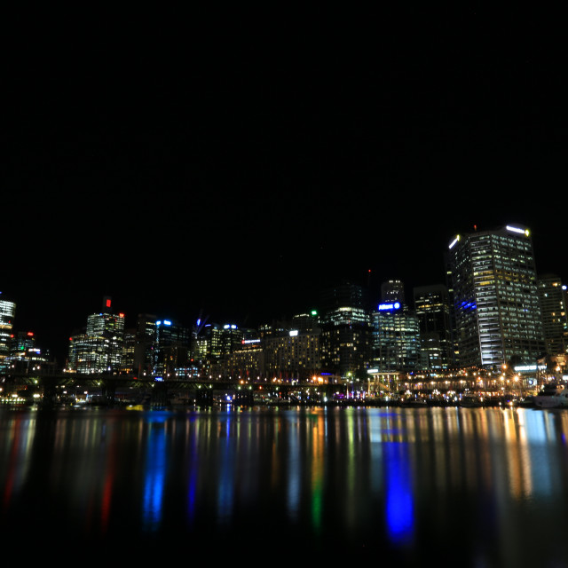 """Nightscape of Cockle Bay Darling Harbour Sydney"" stock image"