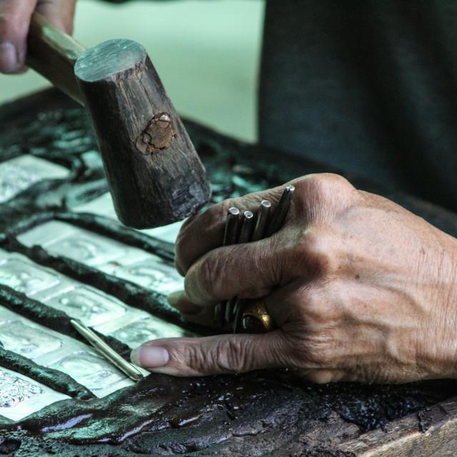 """Metalworker- Luan Prabang Laos 2"" stock image"