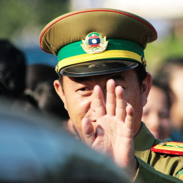 """Stop! - Policeman in Vientiane Laos"" stock image"