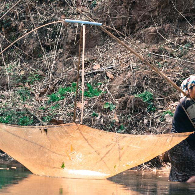 """Fisherwoman - Hin Bun Laos"" stock image"