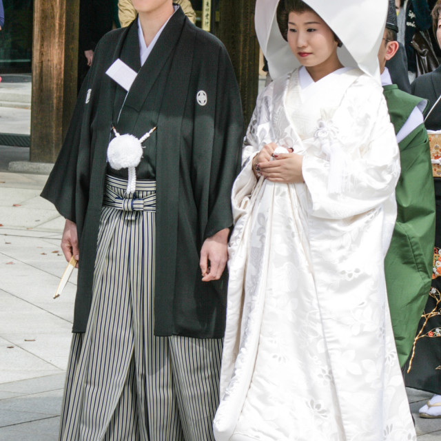 """Bride and groom - Shinto wedding"" stock image"