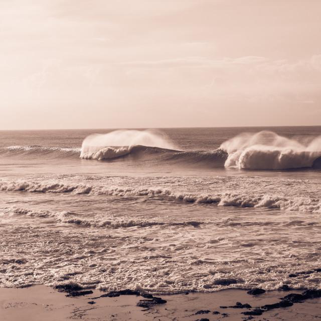 """""""Ocean Waves Crashing Reefs Sepia"""" stock image"""