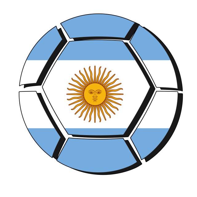 """Argentina flag on football ball, 2018 Championship"" stock image"