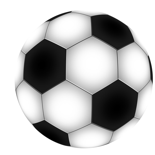 """close up on traditional black and white football soccer ball on white background"" stock image"