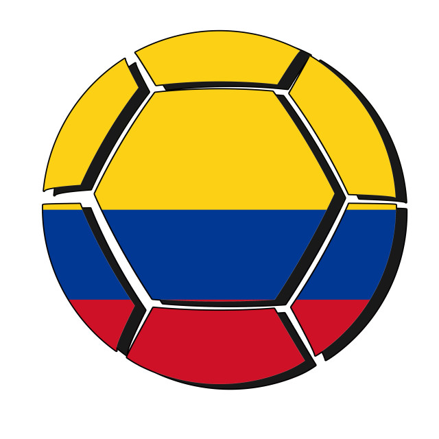 """Colombia flag on football ball, 2018 Championship"" stock image"