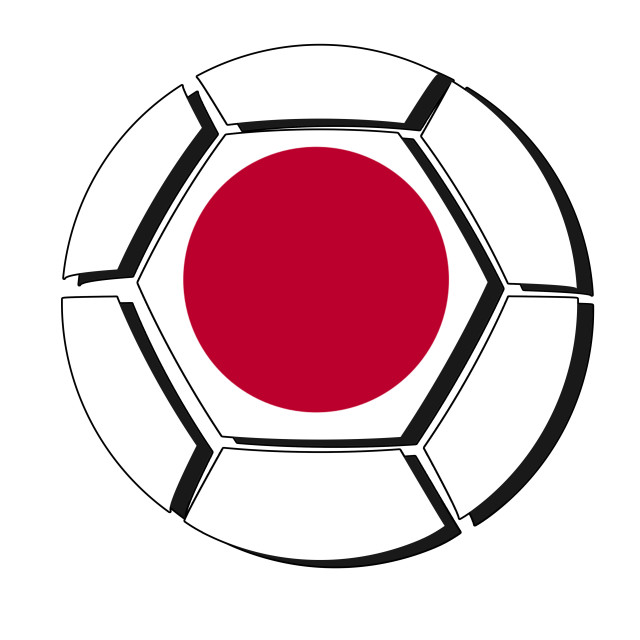 """Japan flag on football ball, 2018 Championship, white background"" stock image"