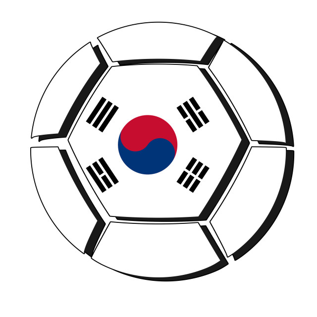 """South Korea flag on football ball, 2018 Championship, white background"" stock image"