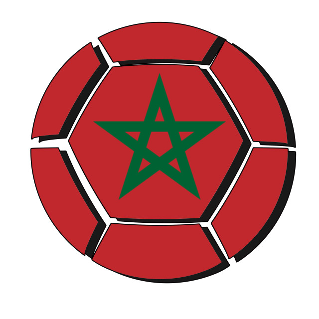 """Morocco flag on football ball, 2018 Championship, white background"" stock image"