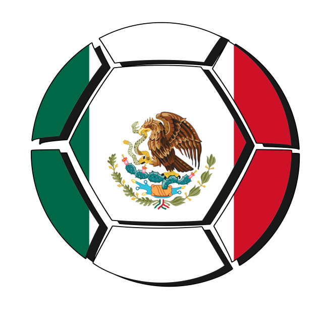 """Mexico flag on football ball, 2018 Championship, white background"" stock image"