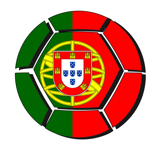 """Portugal flag on football ball, 2018 Championship, white background"" stock image"