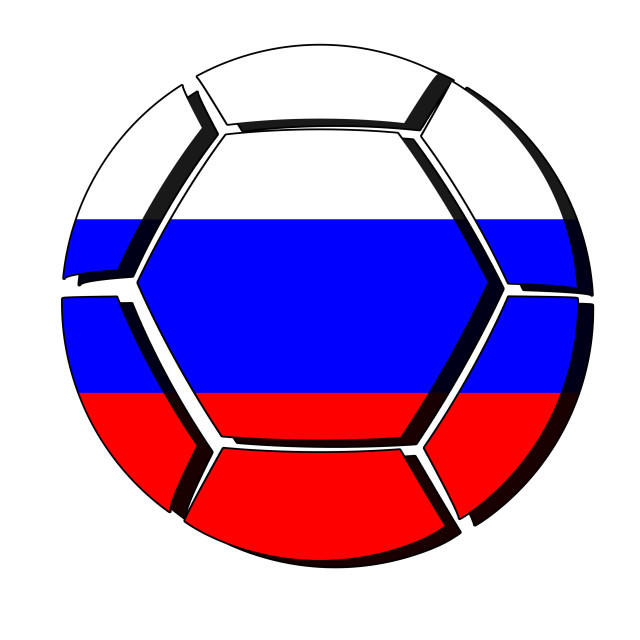 """Russia flag on football ball, 2018 Championship, white background"" stock image"