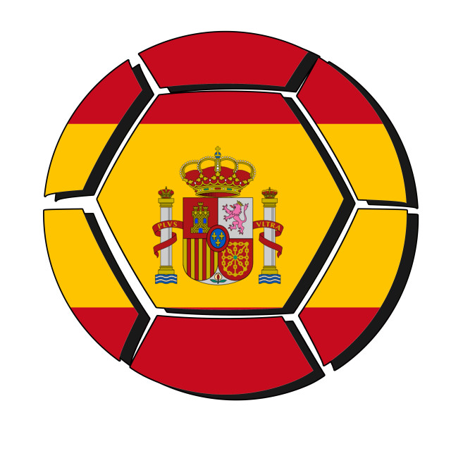 """Spain flag on football ball, 2018 Championship, white background"" stock image"