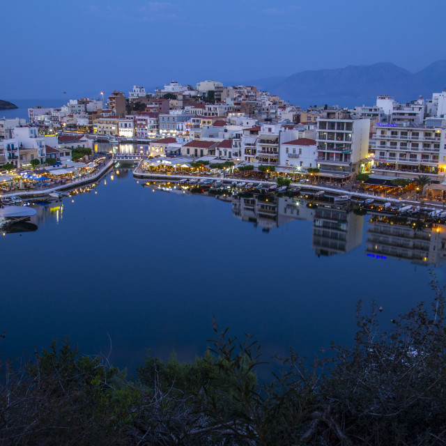 """Agios Nicolaos City with the Lake"" stock image"