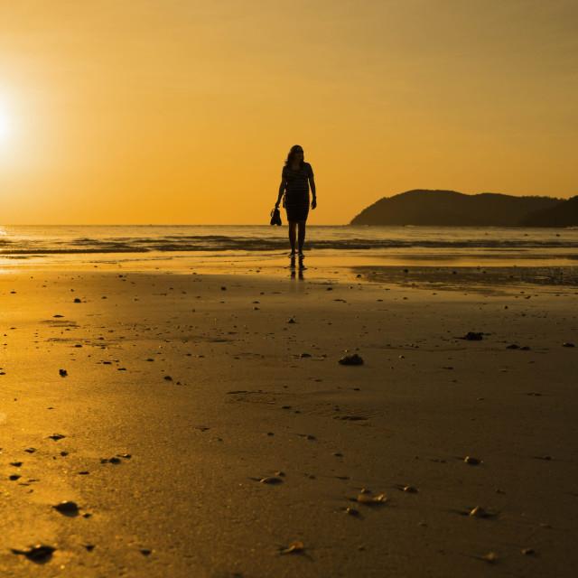 """Sunset on the beach"" stock image"