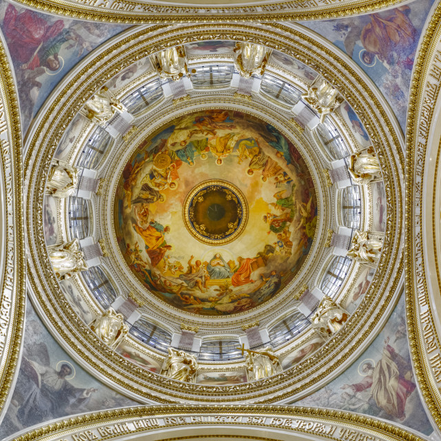 """Interior ceiling of belfry, St. Isaac's Cathedral; St. Petersburg, Russia"" stock image"