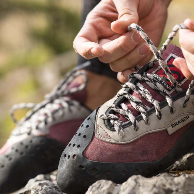 """""""Rock Climbing Shoes being tied"""" stock image"""