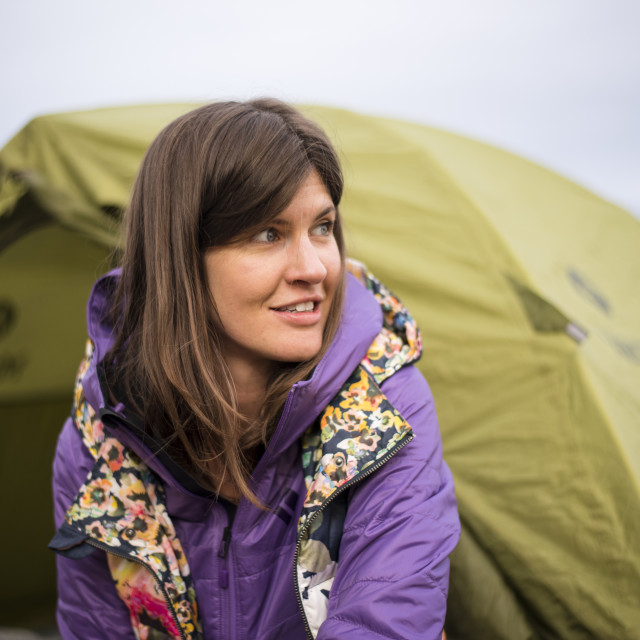 """Woman Camping in the American West"" stock image"