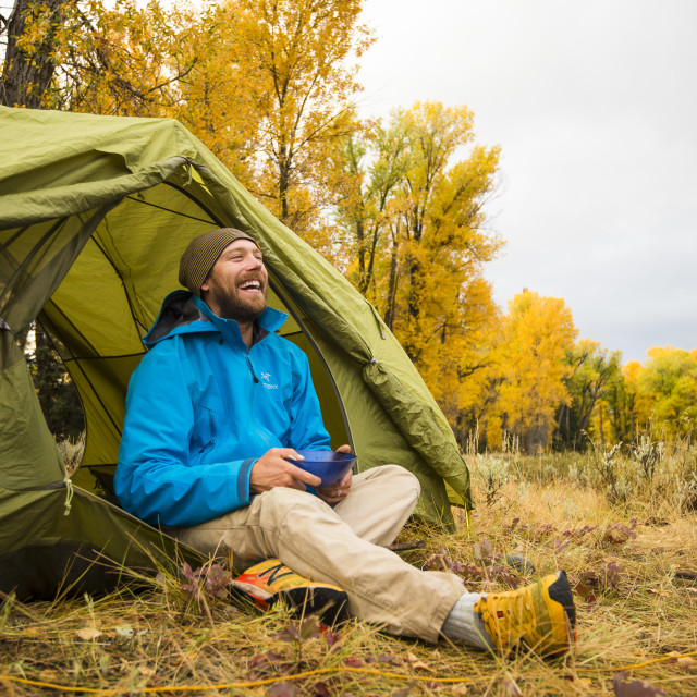 """Man Camping in the American West"" stock image"